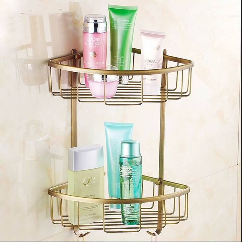 AUSWIND Solid Brass Bathroom Shelves 2-tier Storage Basket Wall ...
