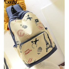 Women's back pack Eiffel Tower backpack for adolescent junior high school students schoolbag laptop bag schoolbag for girls boy
