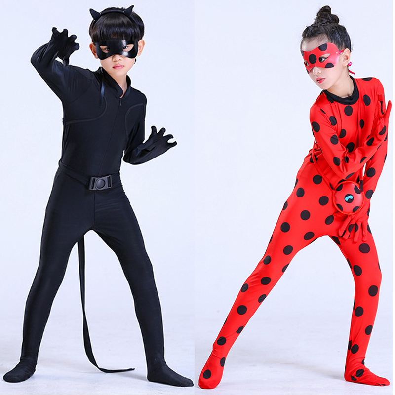 LadyBug Costume New Party Kids Boys Clothing Sets Black Cat Noir Carnival Cosplay For Children Jumpsuit Mask Costume