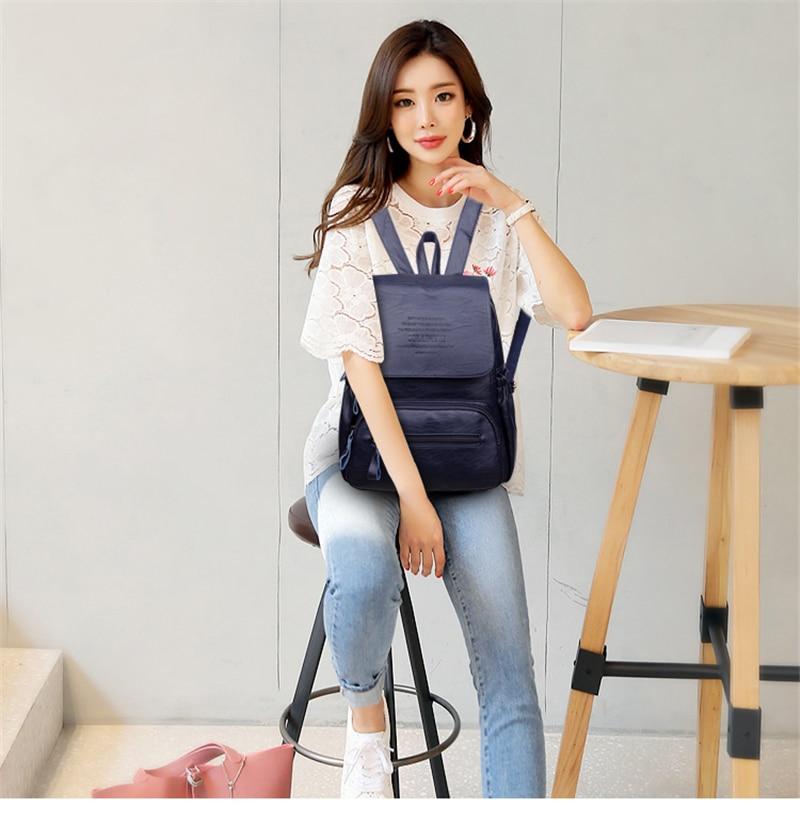 HTB1uOB9R6DpK1RjSZFrq6y78VXaD 2019 Women Leather Backpacks High Quality Ladies Bagpack Luxury Designer Large Capacity Casual Daypack Sac A Dos Girl Mochilas