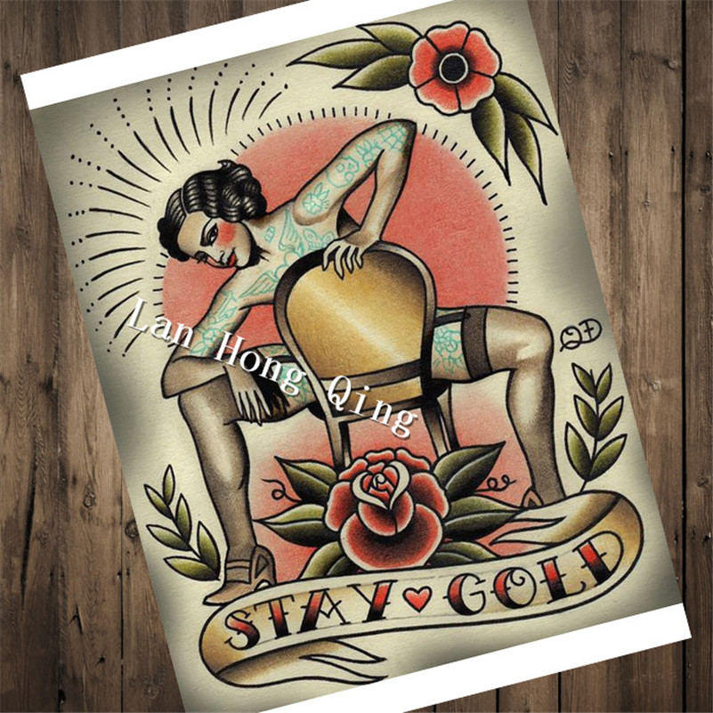 Time-limited vintage Tattoos design about STAY GOLD Patterned Posters Kraft paper Wall Sticker Barber shop Home Decor HM-047