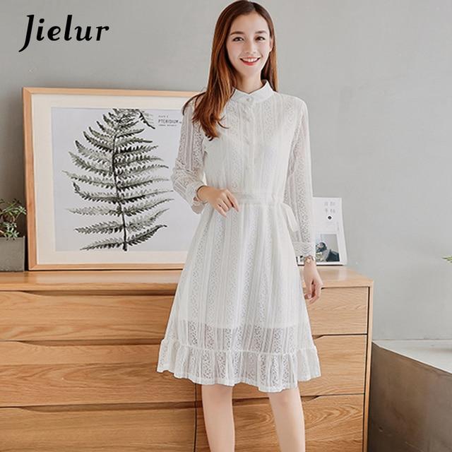 06babde594 2018 otoño nuevo puro Color negro blanco vestido de camisa mujer botones  elástico de encaje