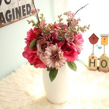 high quality fake Flower Beautiful Rose Peony Artificial Silk Flowers small bouquet flores home party spring wedding decoration