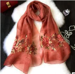 2018 Горячие Янтарный T шелковой вышивкой шарф новый стереоскопического вышивка цветы пиона солнцезащитный крем платок шелковый шарф
