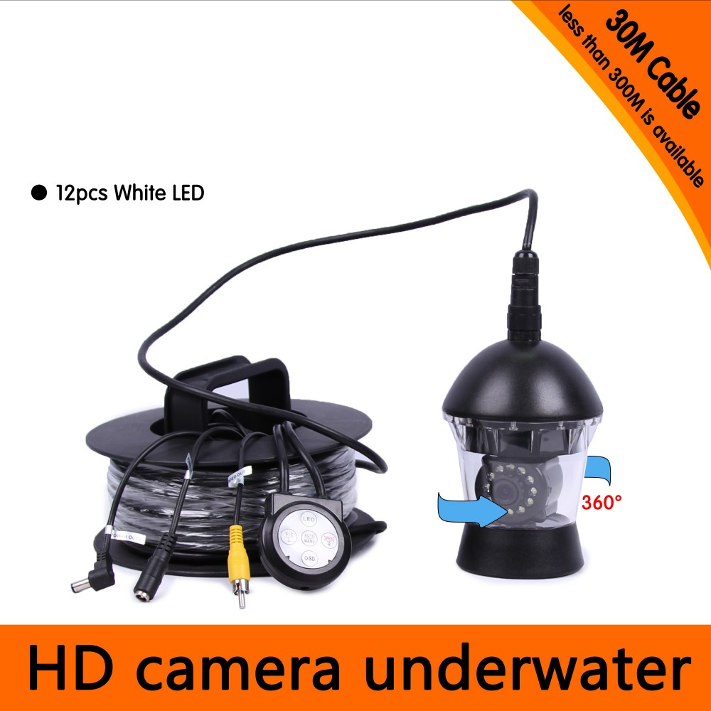 30Meters Depth 360 Degree Rotative Underwater Camera with 12pcs of White or IR LED for Fish