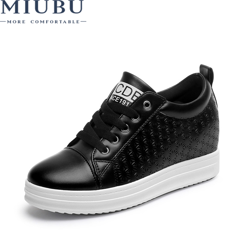 MIUBU White Shoes Solid Rubber Sneakers Women Height Increasing Female Shallow Lace-up Woman Massage Superstar