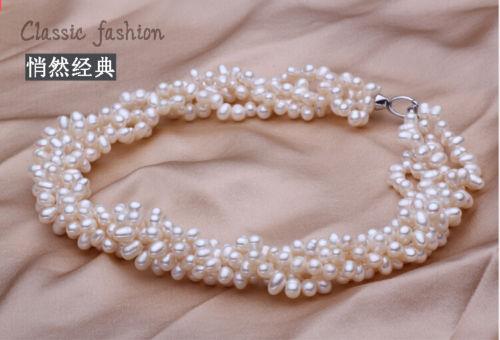 Горячие продажи новый Стиль>>>>> Свадебные Белый Настоящая Жемчужина AAA Природный Жемчуг Ручной Многослойных Ожерелье