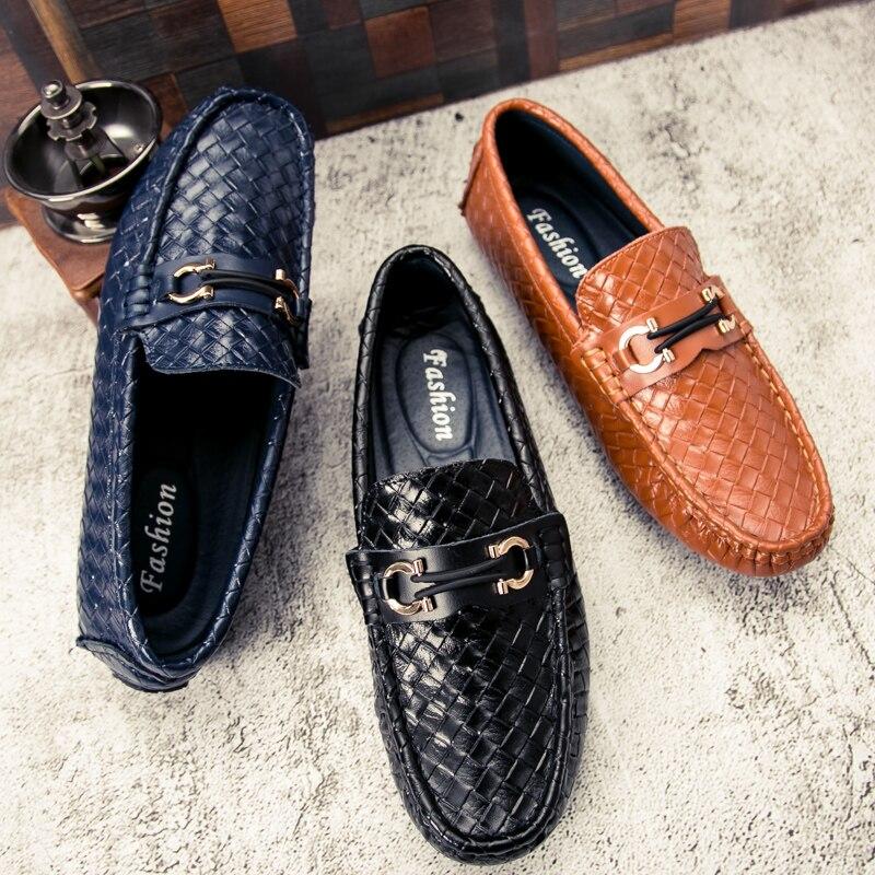 Nova Couro Sapatos marrom Peas Verão Juventude Vestido Bonito azul Black Masculinos Respirável Tendência Condução Tecido De rIxgEZqrSw