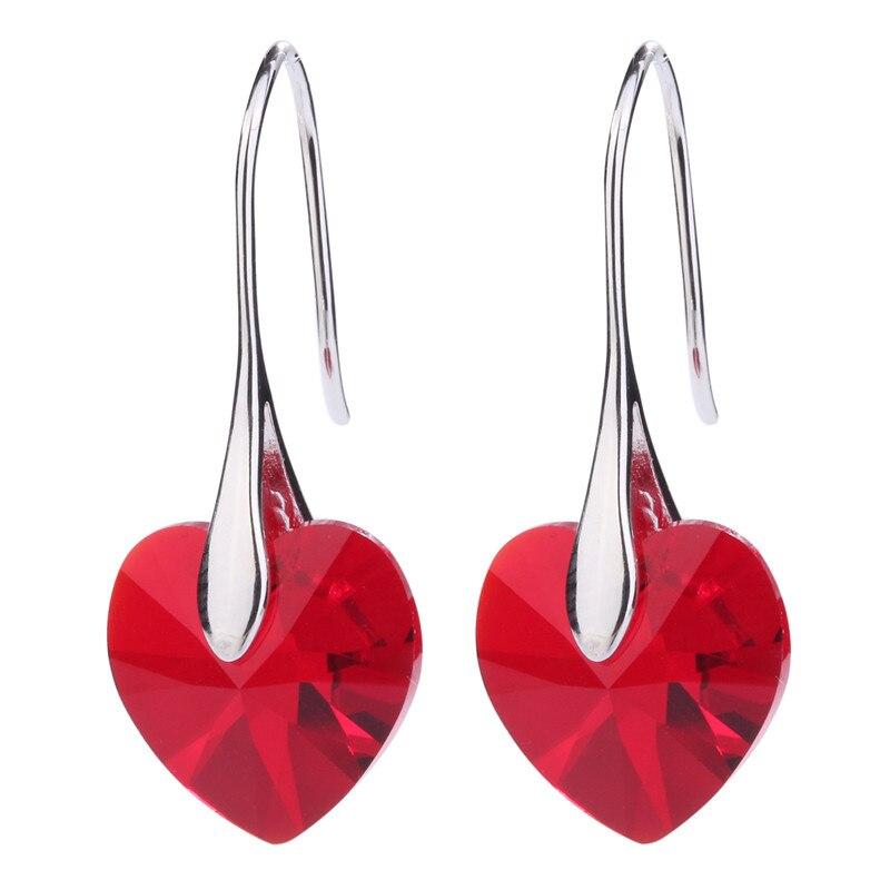 MS Betti 2018 новый красный Сердце Крюк серьги с натуральными кристаллами от Swarovski бижутерии с нескольких цветов вариант оптовая ...
