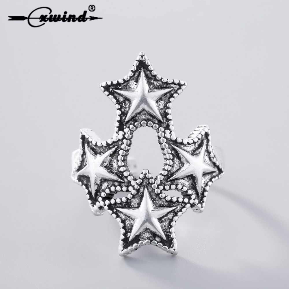 Cxwind античные четыре звезды Открытые Кольца для женщин модное парное кольцо 925 тайский серебряный регулируемый палец богемные вечерние ювелирные изделия в подарок