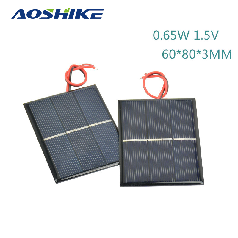 Aoshike 2Pcs Solar Panels DIY Flexible Solar Panel Energy Epoxy Plate With Wires 0 65W 1