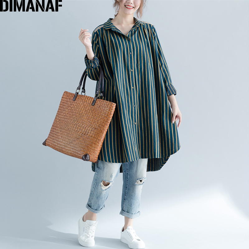 DIMANAF Women's   Blouse     Shirt   Long Cardigan Cotton Autumn Femme Big Size Print Striped Loose Casual Large Clothing Outerwear 2018
