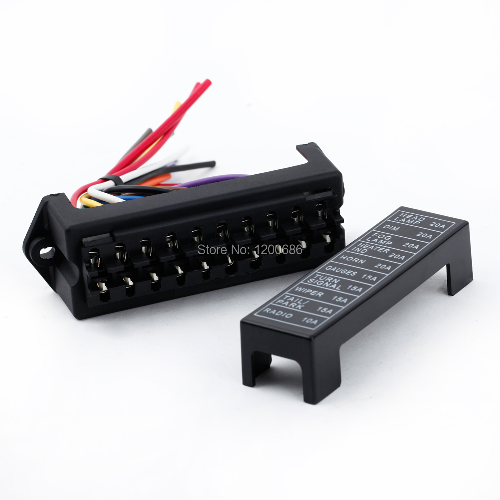 Aliexpress.com : Buy 10 Way Blade Fuse Circuit Box DC 12v 24v 32V Circuit  Car Trailer Auto Fuse Box Block Holder ATC ATO 2 input 10 ouput Wire from  Reliable ...