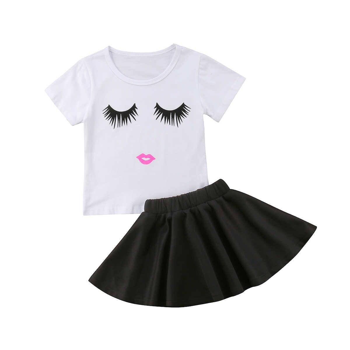 Футболка с застенчивым лицом для маленьких девочек юбка пачка комплект одежды из