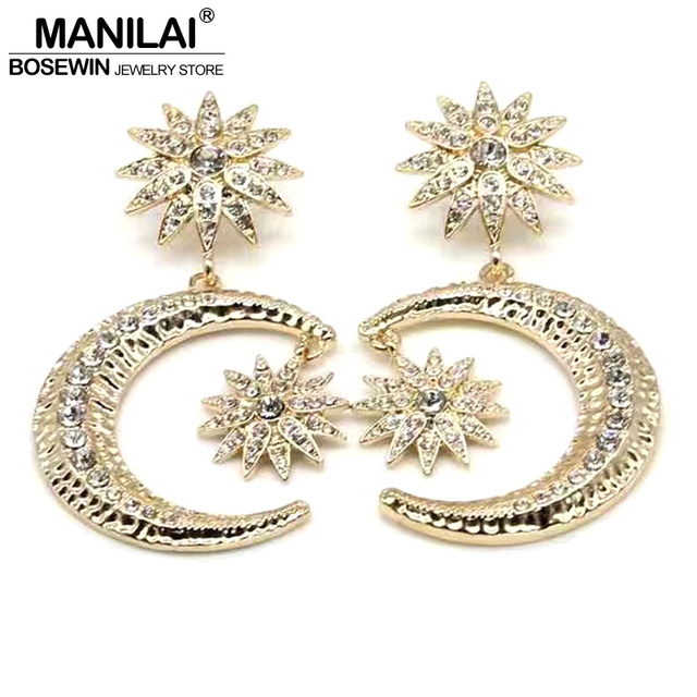 Manilai Baroque Gold Color Moon Star Rhinestones Earrings For Women New Fashion Accessories Dangle