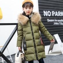 Girls Fashion Down Jackets Children Long Thin Fur Collar Outerwear Teenagers Comfortable Winter Snowsuits Overcoat AA51913