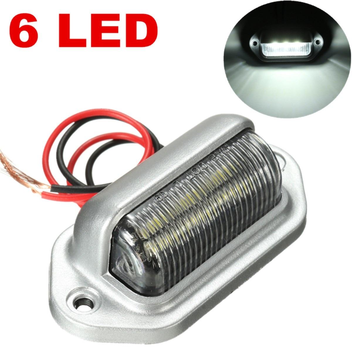 Chrome 6 LEDs License  Number Plate Tag Light Boat Rv Truck Trailer Interior Step White Lamp 12V 2pcs truck light 4 leds lamp
