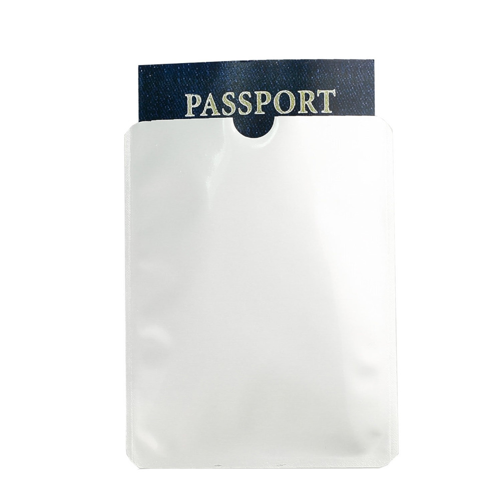 imágenes para (100 unids/lote) Escaneo Anti RFID Bloqueo Pasaporte Manga Secure Protector De Aluminio Bloqueador