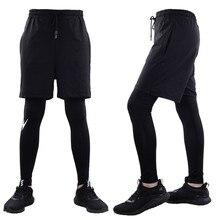 1a155143b Hombres de negro Deporte Pantalones falsa de dos piezas ropa deportiva  Running camisetas rápido seco gimnasio Yoga elástico Fitn.