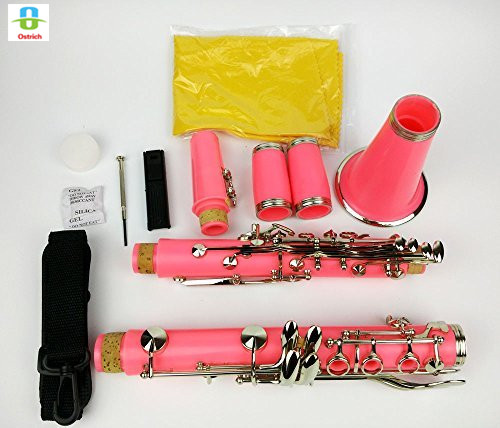 Bb Clarinet Pink Color 17 Keys Nickel Plated With Case for Student Beginnerv