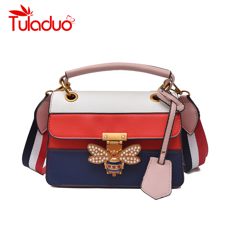 Little Bee Women Handbags Color Patchwork PU Leather Bags Panelled Fashion Lady Crossbody Bags Designer Splicing Female Bag New the little old lady in saint tropez