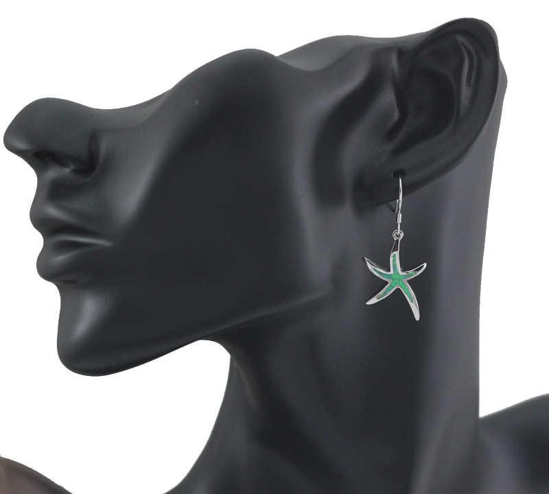 HAIMIS ขายร้อนสังเคราะห์สีฟ้าสีน้ำตาลสีขาวสีเขียวโอปอล Star ปลาดาวหูต่างหูผู้หญิง OE263