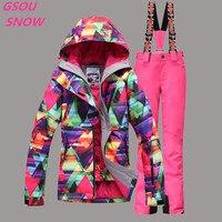 Gsou снег для женщин лыжный костюм ветрозащитная Водонепроницаемый лыжного спорта куртка + Штаны уличная спортивная одежда женские пальто ко