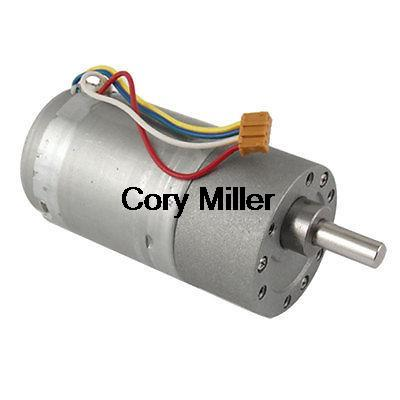 DC 12V 0.13A 200rpm 4 wire 6mm Shaft Gearbox Motor 37mm Dia