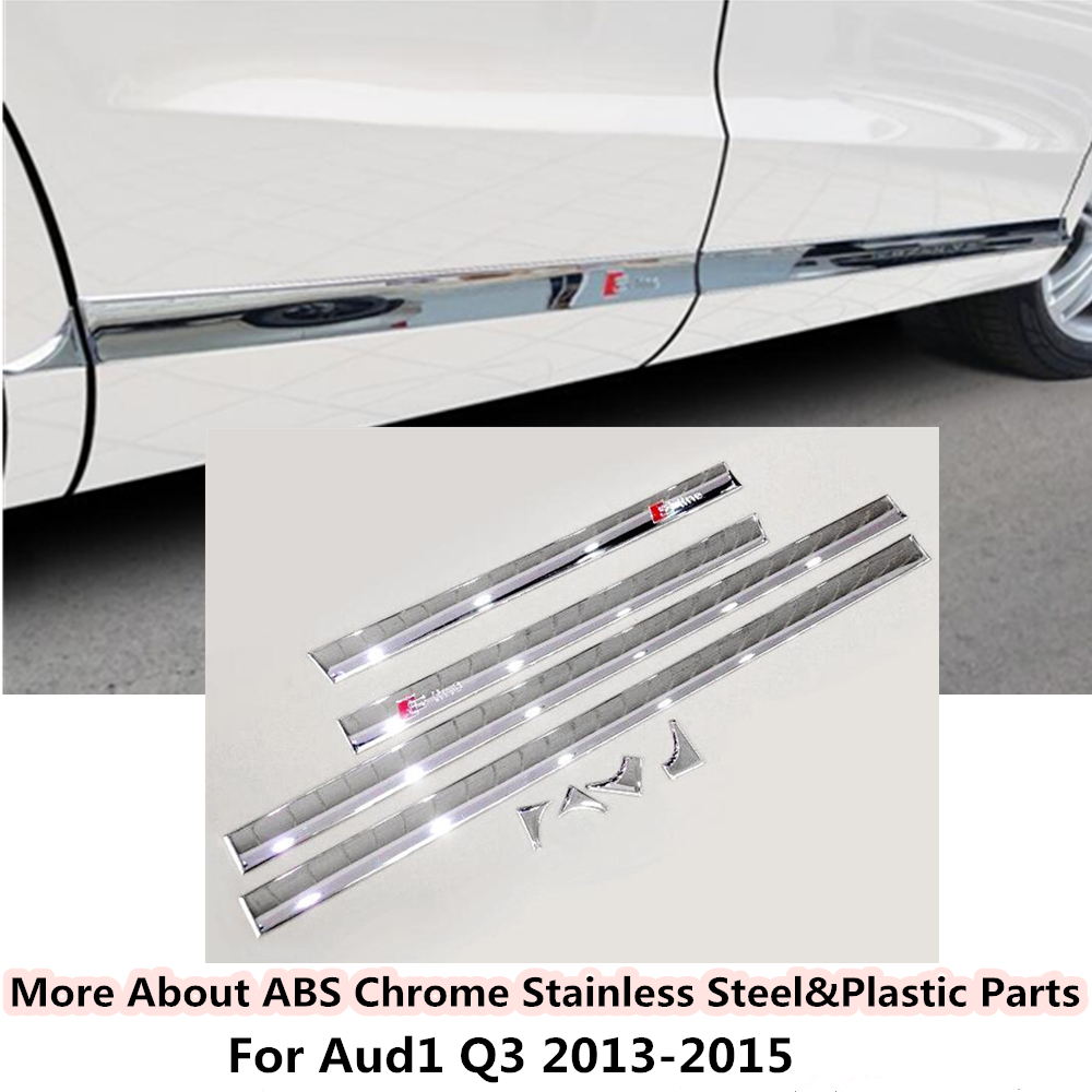 Top For Audi Q3 2013 2014 2015 car styling cover detector ABS chrome Side bottom Door