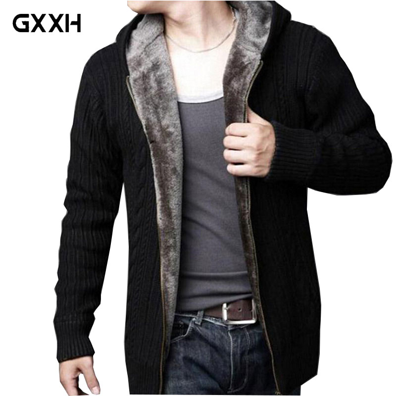 Autumn And Winter New Plus Velvet Men Loose Sweater Casual Warm Hooded Solid Color Coat Zipper Large Size Thick Sweater Size 3XL