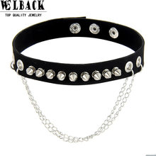 Welback new fashion jewelry punk heavy metal style Rivet long chain pendant black color chokers necklaces for yong people(China)