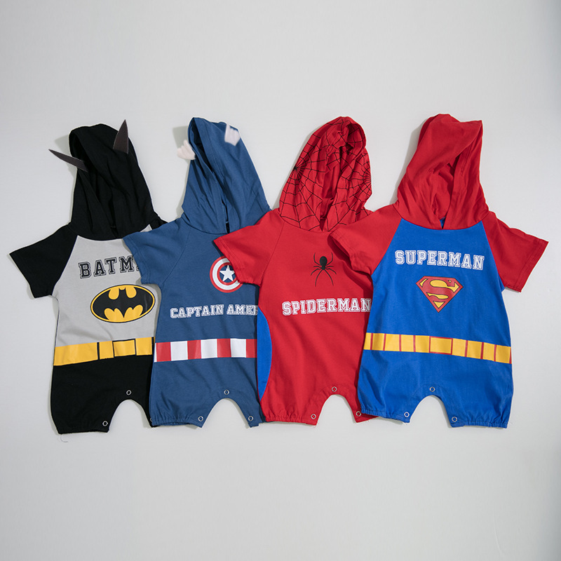 1549 Summer Baby Boy Hero Short Sleeved Pure Cotton Romper Jumpsuit Children Outfits Costume Infant Overall1549 Summer Baby Boy Hero Short Sleeved Pure Cotton Romper Jumpsuit Children Outfits Costume Infant Overall