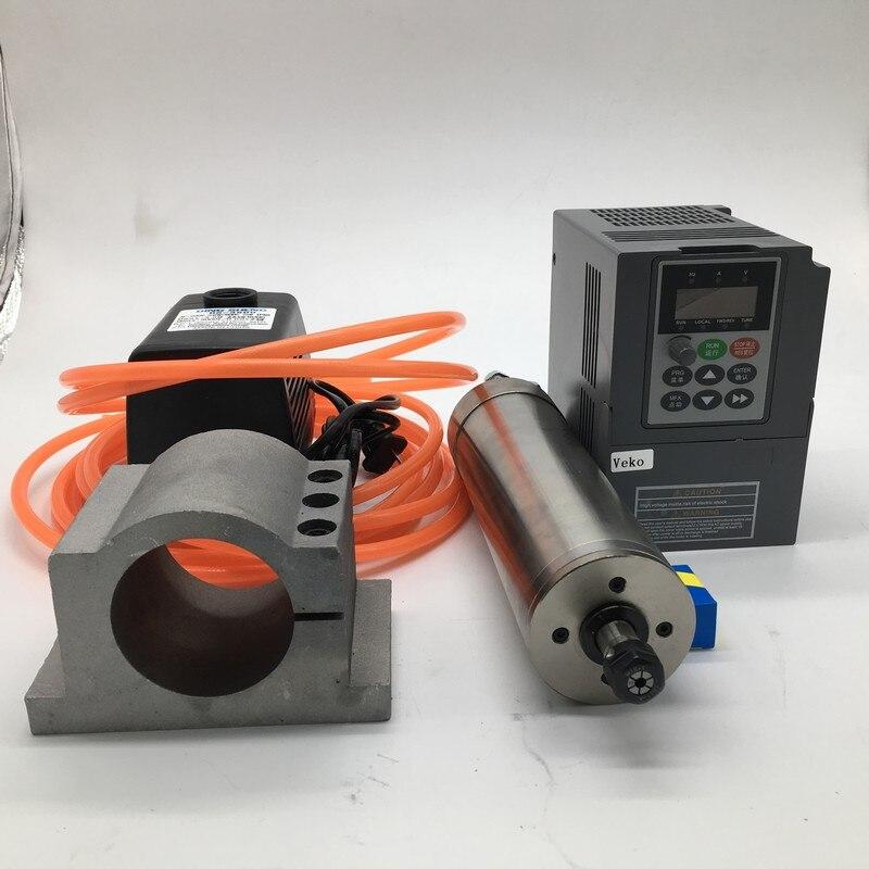 220 v 24000 rpm 1.5KW ER11 80mm Refrigerado A Água Do Motor Spindle + 1.5kw inversor VFD + 75 w água kit bomba Para A Gravura Do CNC PVC