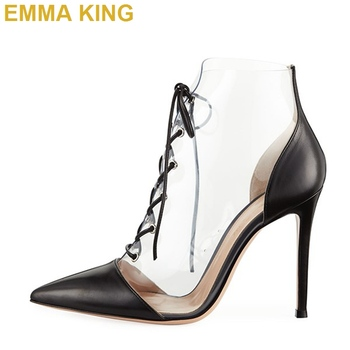 2019 Brand New Designer Shoes Black and Clear PVC Lace Up Booties Stiletto Thin High Heels Women's Sexy Pumps Woman Ankle Boots