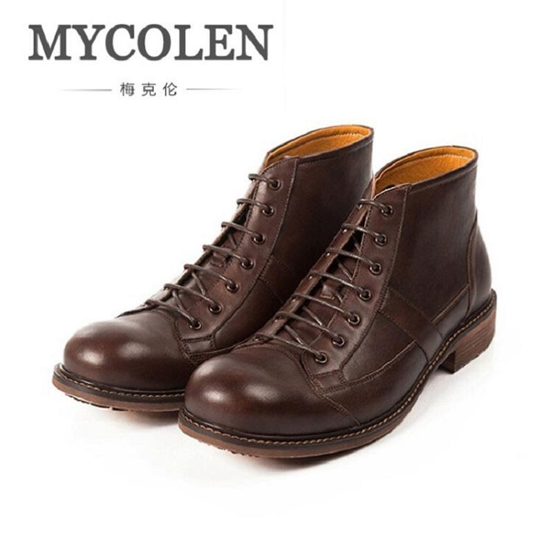 MYCOLEN Men Winter Boots Warm Comfortable Working Safety Men Shoes Vintage Autumn Martin Boots Brown Men Botas Hombre Cuero mycolen 2017 fashion winter men boots british style working safety boots casual winter men shoes male black leather ankle boots
