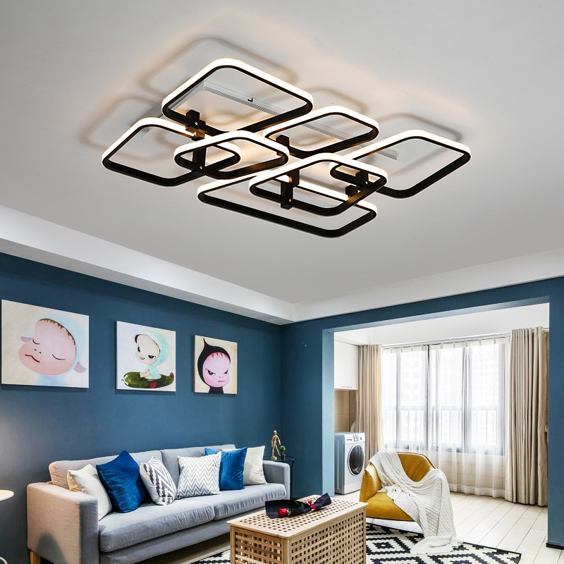 Modern Led Aluminum ceiling lights 30w~125w Black/White Ceiling Lamp light Fixtures for living room bedroom lamparas de techo new design modern led ceiling lights for living room bedroom white or black aluminum home ceiling lamp lamparas de techo