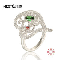 FirstQueen Genuine 100% 925 Sterling Silver Clear CZ Flower Stackable Finger Ring for Woman Wedding Engagement Jewelry