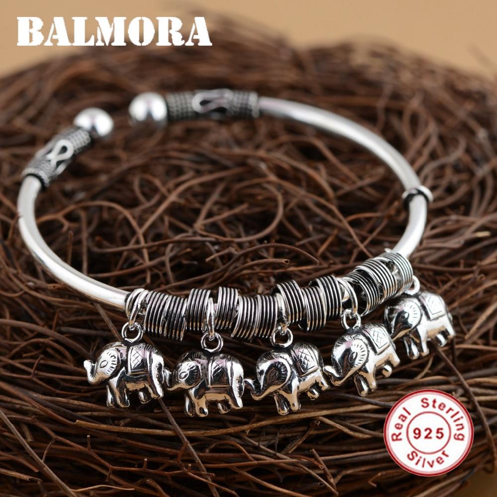 BALMORA Solid 925 Sterling Silver Elephant Open Bangles for Women Girl Gifts Retro Bracelets Cute Animal