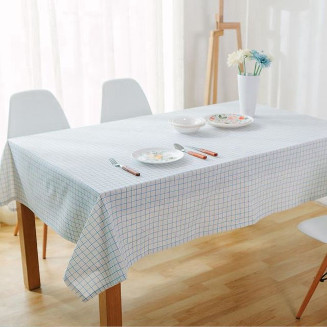 Geometric Blue Striped Tablecloths Japanese Style Rectangle Table Cloth  Cotton Linen Kitchen Restaurant Party Cloth Table