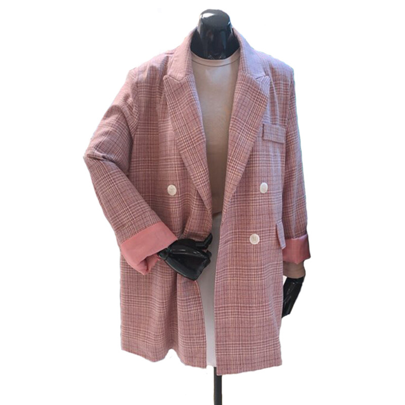 2018 Frühjahr Neue Mode Lange Absatz Wilden Lose Dünne Kariertes Kleinen Anzug Rosa Anzug Jacke Weibliche