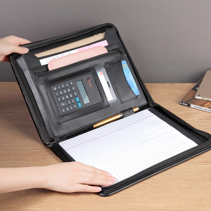 High Quality Professional Business Zippered A4 Padfolio PU Leather Modern Portfolio File Folder Bag with Calculator Pockets(China)