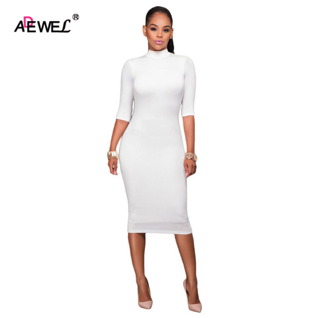 eb0a4c946349 ADEWEL 2019 New Bodycon Dresses Black Mock Neck O-ring Accent Sexy Cut out  Half Sleeve Midi Dress Vestido de Inverno Casual