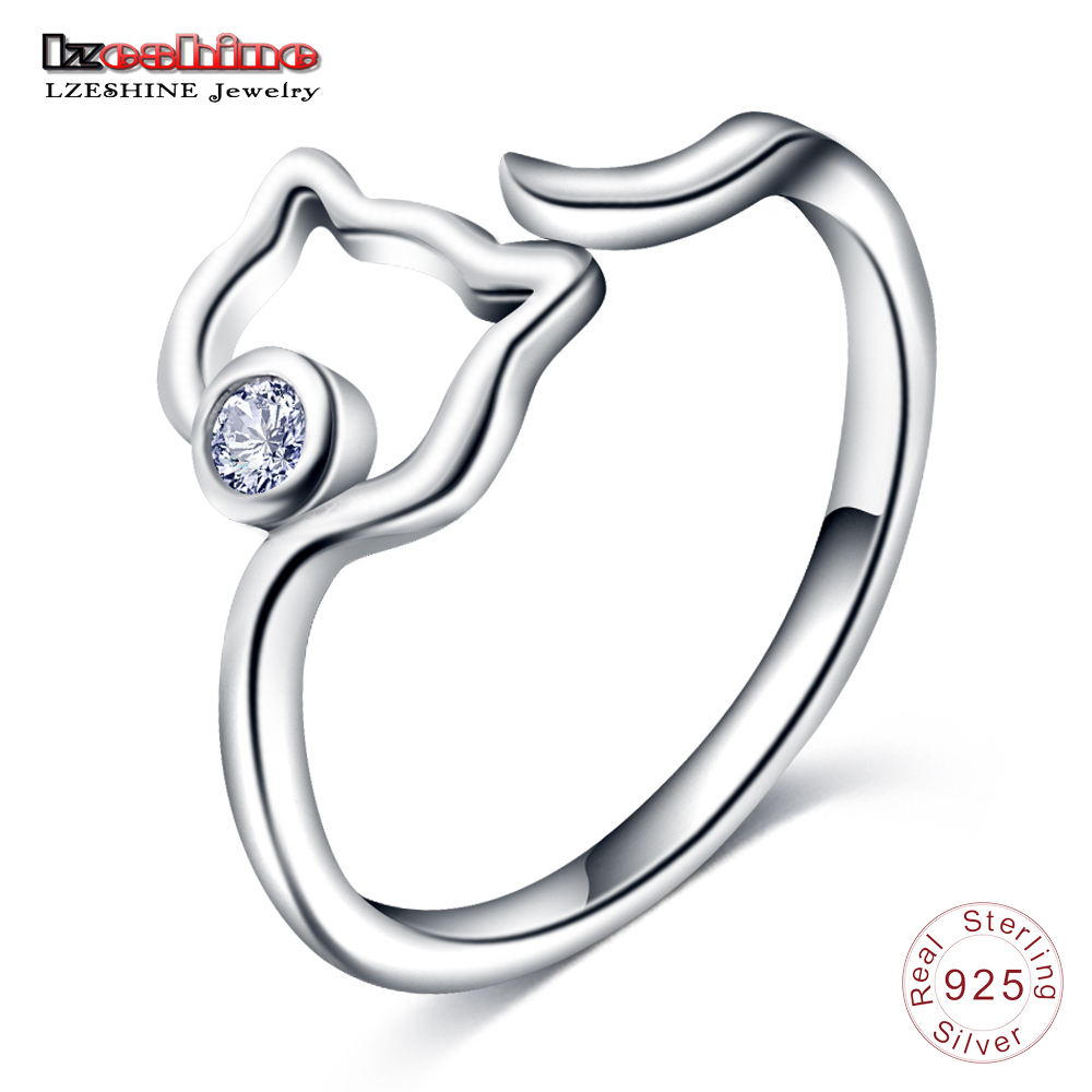 LZESHINE New 925 Sterling Silver Cute Cat Finger Rings For Women Silver Jewelry Adjustable Size Open Ring With Clear CZ anillo недорого
