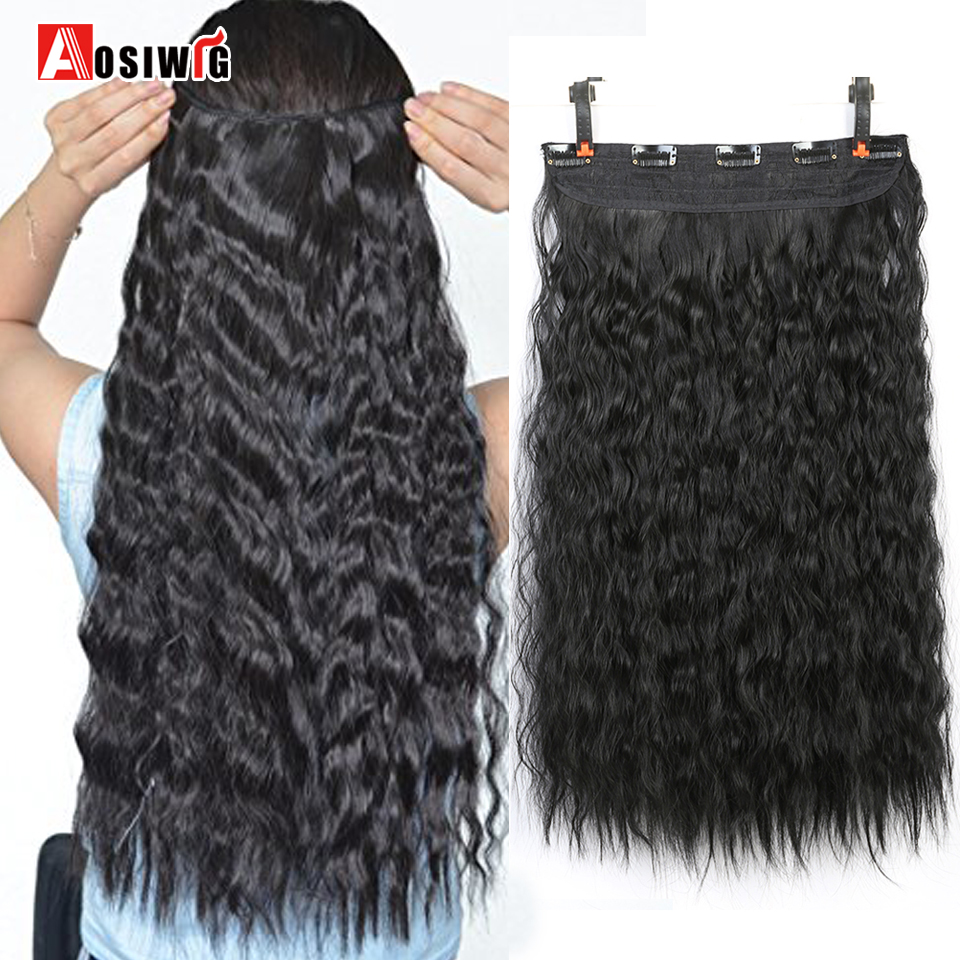 22 Water Wave Long Curly 5 Clip Hair Extension Heat Resistant Synthetic 9 Colors for Women Hair Extension AOSIWIG