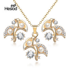 Hesiod Fashion Gold Color Ginkgo Leaves Crystal Imitation Pearl Jewelry Sets for Women Long Chain Earrings Necklace Sets(China)