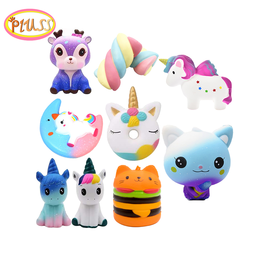 New Unicorn Galaxy Cute Kawaii Cartoon Deer Big Squishy Cat Jumbo Toys Slow Rising Phone Straps Sweet Scented Bread Cake Toys