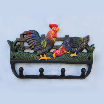 European Vintage Hand Painted Color Rooster and Hen Design Cast Iron Wall Hook with 4 Hangings