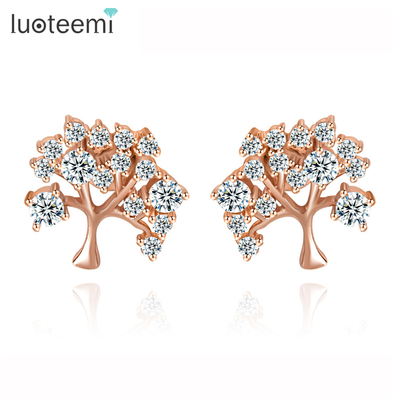 15497884b LUOTEEMI Wholesale New AAA CZ Tree Cut Rose Gold-Color Cute Earrings for  Girls Fashion Small Stud Earrings Daily Wear