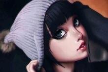 cute lovely anime girl brunette face KA671 living room home wall modern art decor wood frame poster