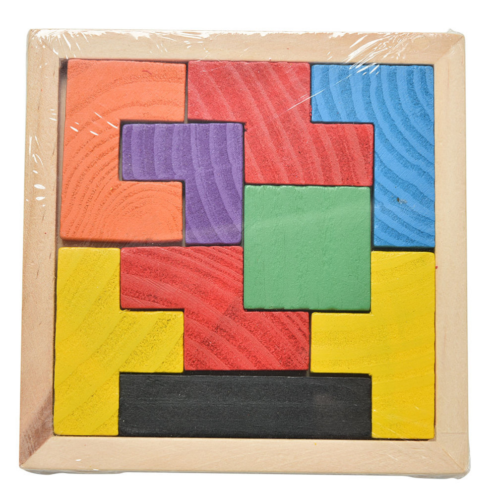 1PCS Funny Wooden Tangram Brain Teaser Puzzle Tetris Game Educational Baby Child Kid Toy For Children